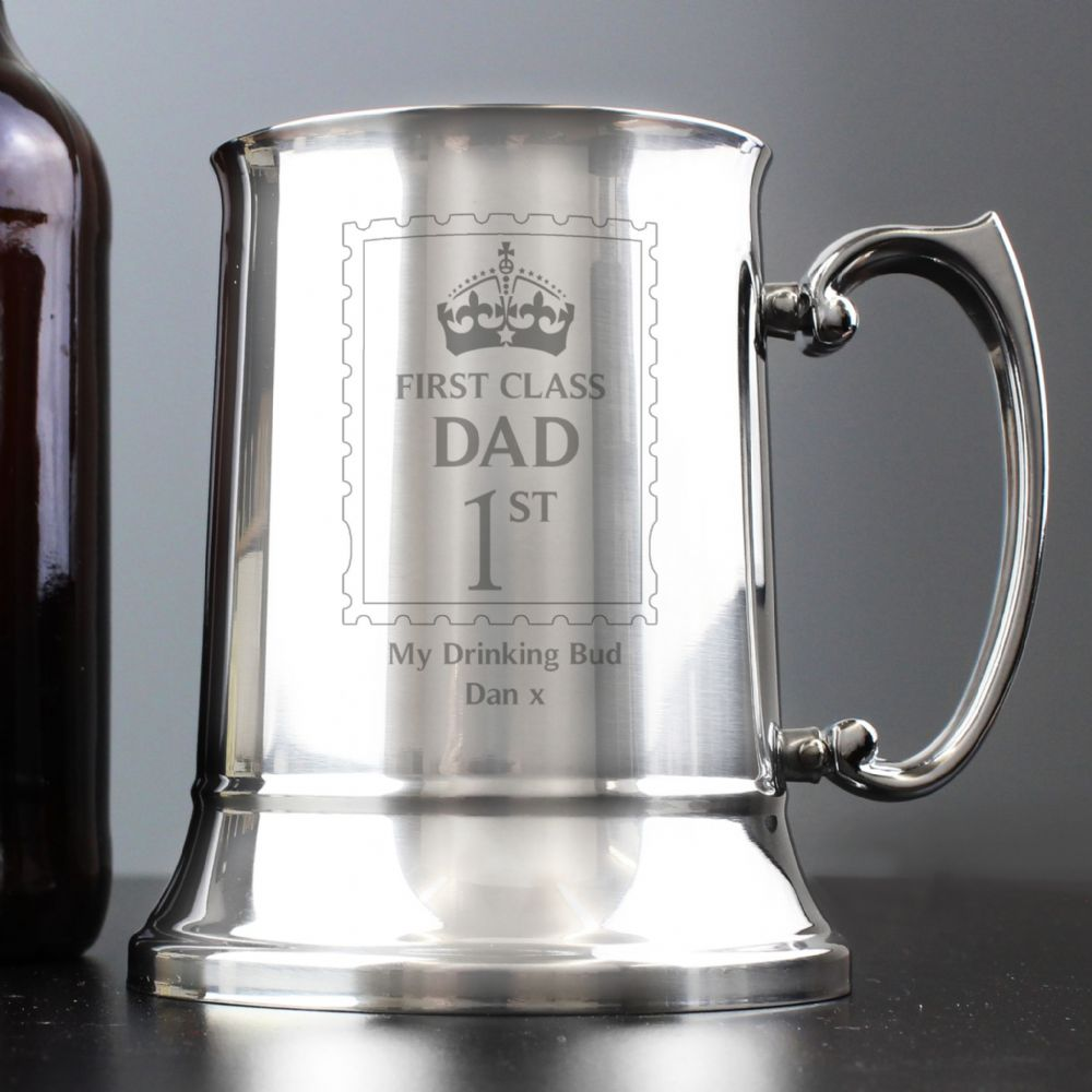 Personalised 1st Class Dad Stainless Steel Tankard For Fathers Day Gift